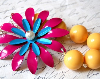CLEARANCE SALE Asymmetrical Pink and Blue Enamel Flower Necklace