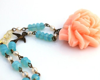 CLEARANCE Peach Rose Necklace