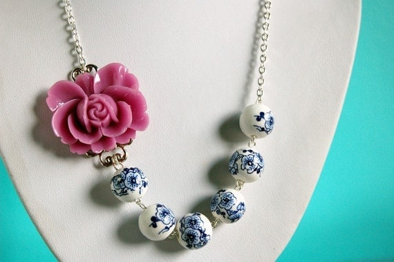 Asymmetrical Purple and Blue Rose Necklace Buy 3 Get 1 Free