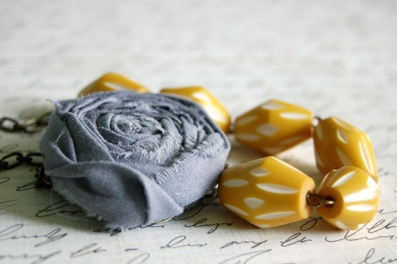 Asymmetrical Grey and Mustard Yellow Rosette Necklace Buy 3 Get 1 Free