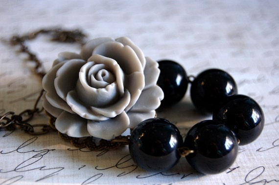 Asymmetrical Grey and Black Rose Necklace Buy 3 Get 1 Free