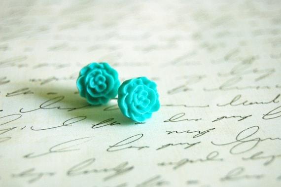 Aqua Flower Earrings Buy 3 Get 1 Free