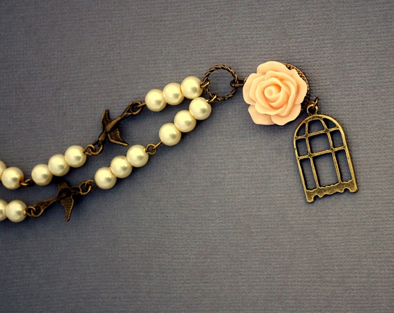 Birdcage and Pink Rose Necklace