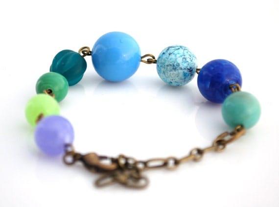 Blue and Green Vintage Bead Bracelet Buy 3 Get 1 Free