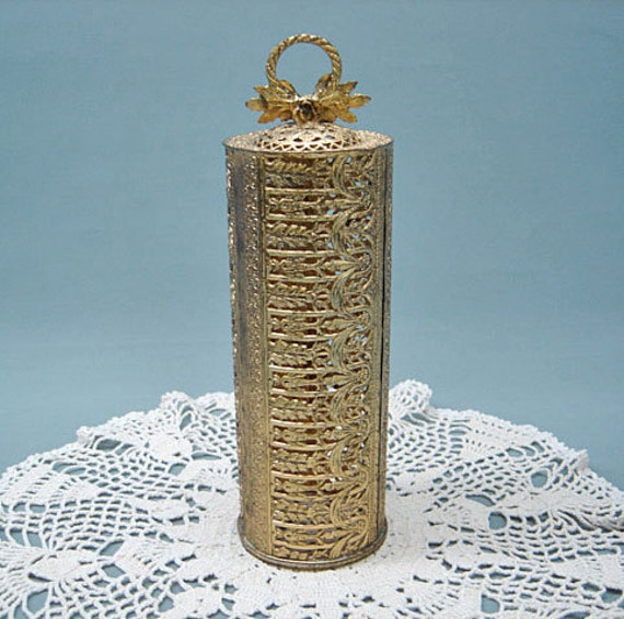 Reserved for PerkysPieces Sale now 10.00 Vintage Filigree Antique Brass Finish Metal HAIRSPRAY Can Cover PERFECT Condition