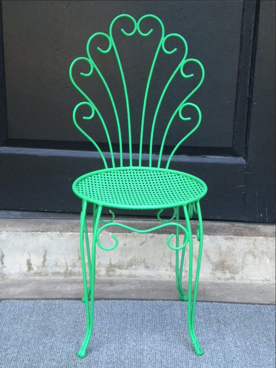 Painted Green Wrought Iron Chair With Scrolls