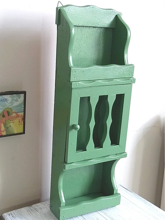 Vintage Wood Spice Rack Painted Leafy Green Updated