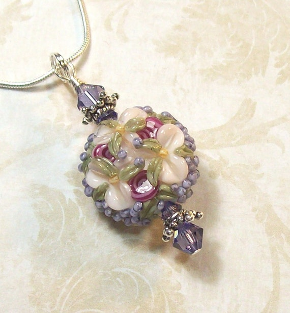 Artisan Floral Lampwork Pendant - Tanzanite, Purple, Pink and Cream - Amazing