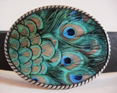 Peacock Feathers Belt Buckle - SALE - Add a Belt for only 8 Dollars