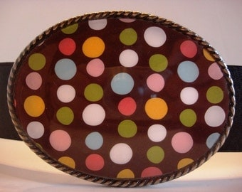 belt buckle, Happy All Over Dots Belt Buckle
