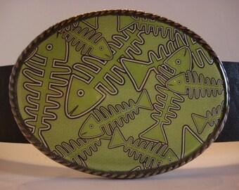 Jada Belt Buckle - Fish Bonz - Oval Wearable Art