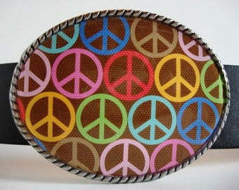 Belt Buckle - Peace Party - Oval Wearable Art
