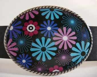 Belt Buckle - Jada Belt Buckle - Flowerworks - Oval Wearable Art - Belt Buckle