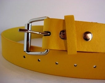Belt for Belt Buckle, Bonded Leather Snap Belt - Yellow