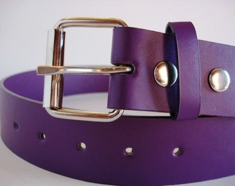 Belt for Belt Buckle, Bonded Leather Snap Belt with FREE Plain Buckle - PURPLE
