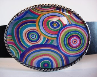 belt buckle, Millefiori Faux