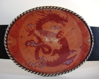Mens or Womens Belt Buckle, Red Dragon
