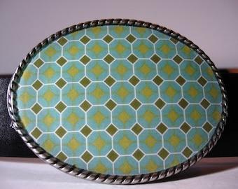 Jada Belt Buckle - Green Diamond - Oval Wearable Art