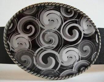 Hurricane Swirls Belt Buckle - Oval Wearable Art