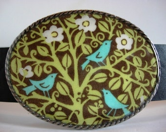 Womens belt buckle, spring birds
