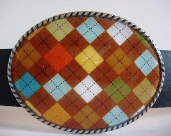 Belt Buckle - Brown Argyle Belt Buckle