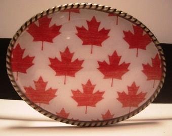 Men or Womens Belt Buckle, Canada Maple Leaf