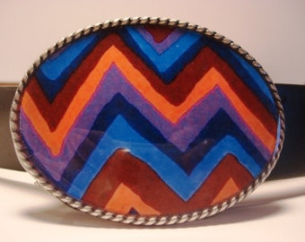 Charlie B ZigZag Belt Buckle - Oval Wearable Art