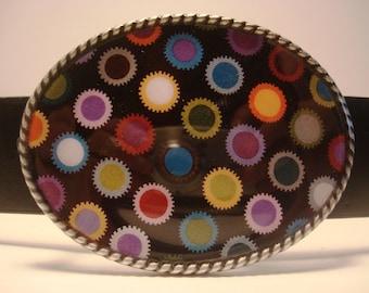 Belt Buckle, Colored Grommets