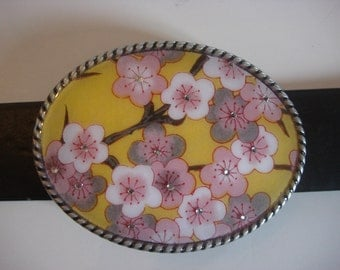 Belt Buckle - Yellow Sakura with Bling