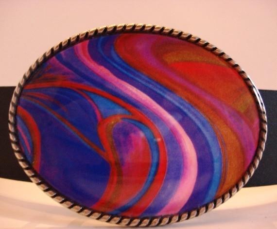 Jada Belt Buckle - Wavy Fire Swirl - Oval Wearable Art
