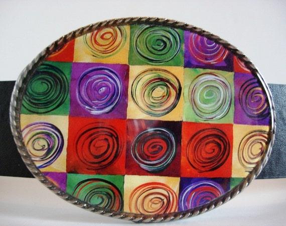 Belt Buckle - Deco Millefiori Squares - Oval Wearable Art
