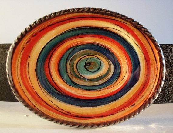 Color Tunnel 2 Belt Buckle - Jada Belt Buckles - Oval Wearable Art Belt Buckle