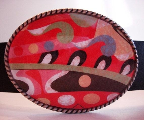 Belt Buckle - Carnival - Oval Wearable Art