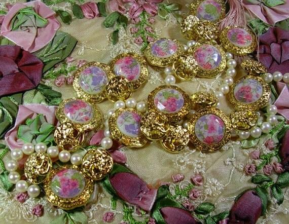 Vintage Button Lot Romantic Victorian Flower Jewel Faux Gold mix Color Round Dome Shape with Shank 12 Piece mixed bundle set collection Pack