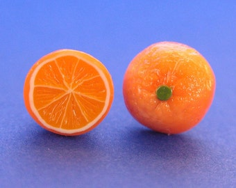 Juicy Orange Stud Fruit Earrings, Food Jewelry, Fruit Earrings, Polymer Clay Food, Orange Earrings