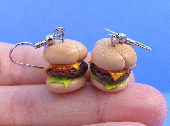 CLEARANCE Burger earrings NICKEL FREE