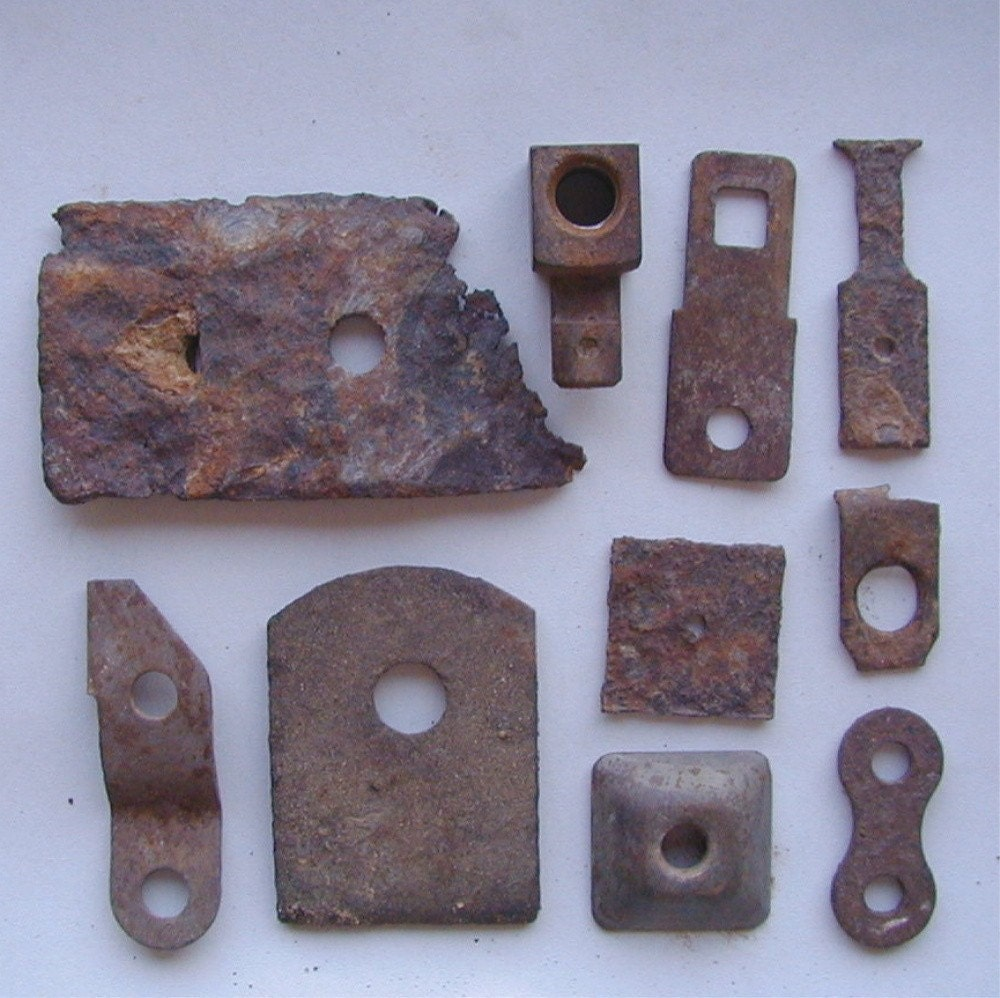 10 Pieces Rusty Metal Found Objects with Round Holes