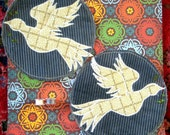 On The Wings of Peace - Extra Large two Dove applique patch set - Custom order for GRAWCLIFFE