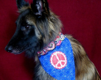 Bones PEACE Sign - REVERSIBLE Dog Bandanna - EMBROIDERED - All sizes available - Medium
