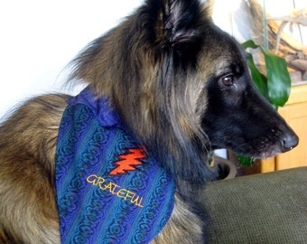 GRATEFUL Dead Lightning Bolt - two sided REVERSIBLE Dog Bandanna - EMBROIDERED - All sizes available - Medium