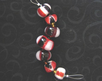 EYE of the TIGER - Set of 7 lampwork glass beads - Great for handmade gifts