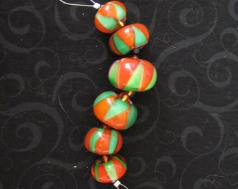 ORANGE GROVE GROOVE - Set of 6 lampwork glass beads - Great for handmade gifts