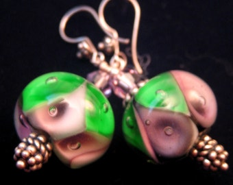 Grapevine Dew Air Bubble Lampwork glass and Swarovski Crystal Earrings