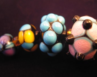 WADING in the VELVET SEA - Set of 8 Lampwork Glass beads - Great for handmade gifts