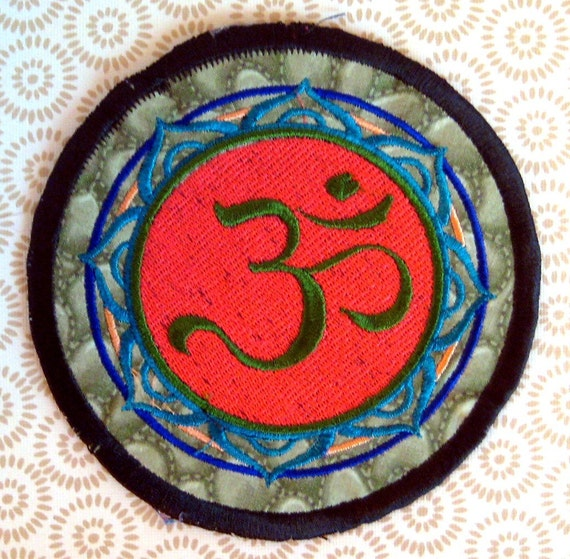 The OHM Mandala - LARGE handmade embroidered art patch