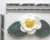 Crocheted White Flowers with Leaves - 12 pieces