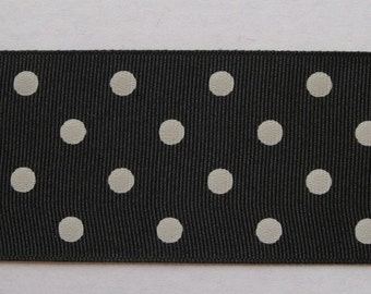 "Black with white polkadots grosgrain ribbon - 10 yards of 2 1/4"" wide IN 3 PIECES"