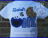 Custom Cookie Monster Birthday Shirt, First Birthday or Second Birthday