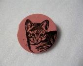 Cute Little Kitten Round Pin Brooch