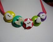 Candy Brite Button Bib Ribbon Necklace
